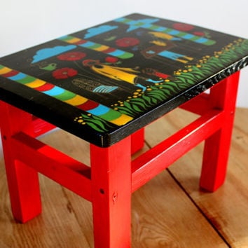 Hand painted furniture - Wooden small bench - Wood stool - Small tabouret - Step stool - Wooden furniture - Housewarming gift - Wedding gift