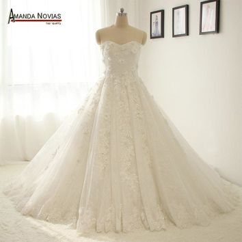 Beautiful New Real Photos Lace Appliques Wedding Dress With Long Sleeve Jacket NS1325