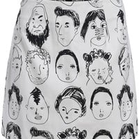 White Portrait Print Mini Skirt