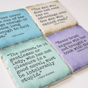 Reading Lovers Literary Quote Coasters. Jane Austen, Lemony Snicket, Mark Twain, CS Lewis
