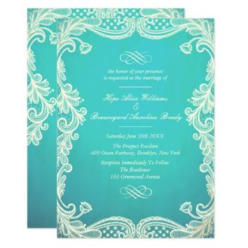 Vintage Ivory and Mint Lace Wedding Invitations