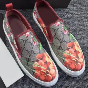 Gucci Fashion Trending Casual Flowers Design Loafer Shoes Flat Shoes Green G