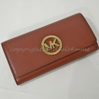 NWT Michael Kors Fulton Carryall Wallet in Brick Red Pebbled/Soft Leather