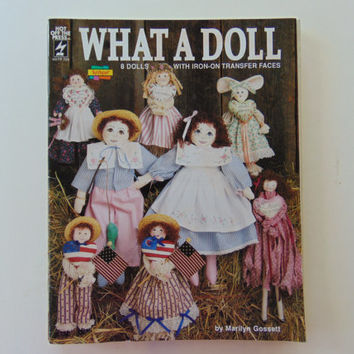 What A Doll 8 Dolls and Mop Dolls with iron on transfer faces Craft booklets leaflets