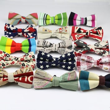 Men's Cool Linen Printed Love Striped Bow Ties Man Neck Bowtie UnionFlag Bowknot Gravatas Necktie Summer Butterfly