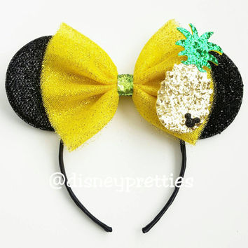 Dole Pineapple Whip Mickey Ears. Tiki Room Ears. Dole Pineapple. Dole whip headband. Mickey ears. Minnie ears.