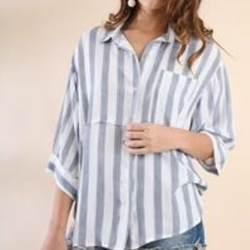 Umgee's Striped 3/4 Sleeve Collared Button Up Tunic with a Hidden Placket, Chest Pocket and High/Low Hem