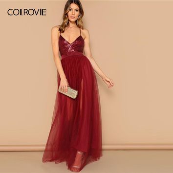 ed415c5f792a COLROVIE Burgundy Crisscross Backless Sequin Patched Cami Party