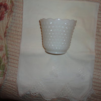 Vintage White Milk Glass Hobnail Bowl