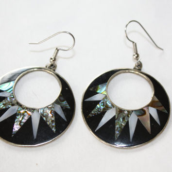 Silver Earrings Oynx Abalone Hoop Drop Dangle Mexico  1960s  Jewelry