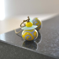 Yellow Blue Scroll Earrings, Lampwork Glass Earrings,