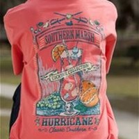 Southern Marsh Hurricane Cocktail Pocket Tee in Coral