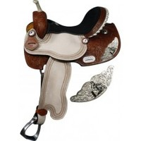 15 inch barrel saddle with silver engraved barrel racer accents, saddle with barrel racer design