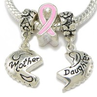 Silver Plated Mother Daughter With Breast Cancer Ribbon Charm & Silver Plated Bracelet Size 9