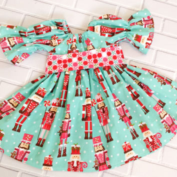 Girls Christmas Dress Nutcracker Red Green Blue Boutique Clothing By Lucky Lizzy's