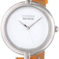 Citizen Eco-Drive Women's EM0250-01A Silhouette Straps Analog Display Orange Watch