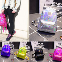 Best New Arrival 2015 Laser Backpack Harajuku Fashion Boys Girls Shoulder Bag