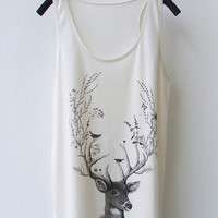 SALE Reindeer - Sleeveless Tank Top Mini Dress in CREAM