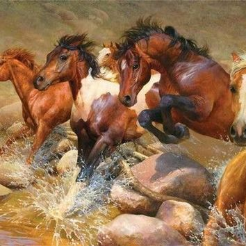 5D Diamond Painting Horses Jumping Rocks in the Water Kit