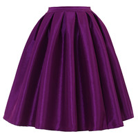 Purple A-line Midi Skirt Purple