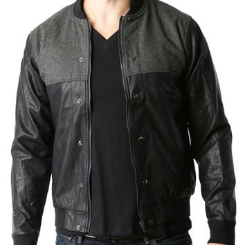 Mens Vintage Faux Leather Varsity Bomber Jacket with Pockets (CLEARANCE)