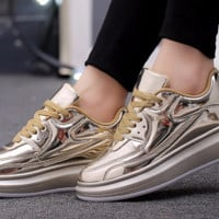 Womens Metallic Silver or Gold Platform Slip-On Sneakers Size 5-7.5
