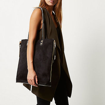 Black faux suede shopper handbag - shopper / tote bags - bags / purses - women