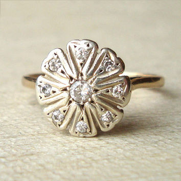 Vintage Diamond Daisy Flower Ring, 9k Diamond Flower Ring, Approximate Size US 7