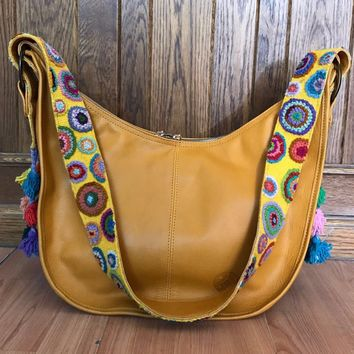 Mexican Designer Leather Bag with Wool Embroidery Mustard