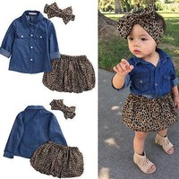 3PC Kids baby Girls Lovely denim shirt + Leopard dress sets suit Summer clothes outfits Children Girls Clothing Sets