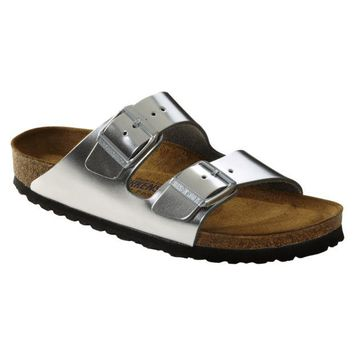 Birkenstock Classic, Arizona, Smooth Leather, Soft Footbed, Regular Fit, Metallic Silver