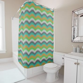 Turquoise Orange Lime Green Retro Waves Pattern Shower Curtain