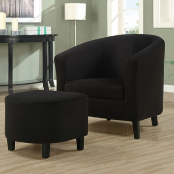 Black Padded Micro-Fibre Accent Chair and Ottoman