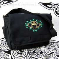 Claddagh Shamrock Messenger Bag Black Cotton Metallic Embroidery Gold