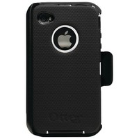 OtterBox Universal Defender Case for iPhone 4 (Black Silicone & White Plastic)