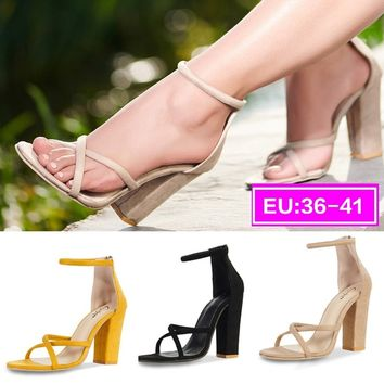 Sandals Summer Open Toe Cross Womens Ankle Strap High Block Heels Pumps Shoes