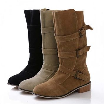 Womens Buckle-Down Boots