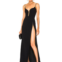 Mugler Crepe High Slit Gown in Black | FWRD