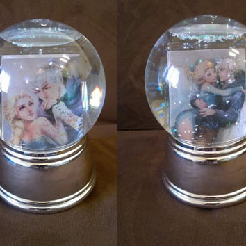 Double Sided Snow Globe, Jack Frost and Queen Elsa, Disney Frozen, Rise of The Guardians, All Plastic