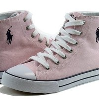 Polo Ralph Lauren Girl's Fashion Sneakers Brooster Hi Canvas Shoes (7, Pink)