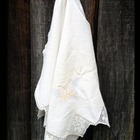 White Cotton, Butterfly Embroidered Hand Linen with Crocheted Trim