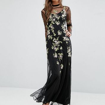 Miss Selfridge Embroidered Floral Maxi Dress at asos.com
