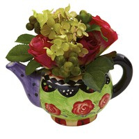 Artificial Flowers -Rose And Hydrangea With Decorative Vase Silk Flowers