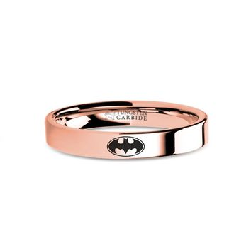 Batman Bat-Signal Laser Engraved Rose Gold Tungsten Wedding Ring