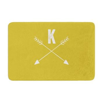"KESS Original ""Golden Arrow Monogram"" Memory Foam Bath Mat"