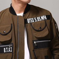 Mens Multi Cargo Pocket MA-1 Flight Bomber Jacket at Fabrixquare