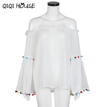 Chiffon Blouse Sexy Off Shoulder Tops Tassel Colorful Long Sleeve Flare Loose Solid White Blouse Camisa Jeans Feminino#C823 SM6