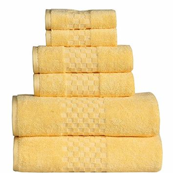 FEATHER & STITCH NEW YORK Feather & Stitch Fade-Resistant 100% Cotton 6-Piece Towel Set, Hotel Quality, Super Soft and Highly Absorbent (Yellow, 6 Pack Set)