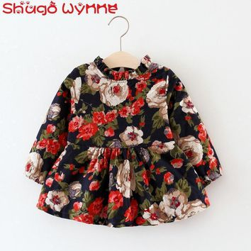 Autumn Winter Baby Girls Cotton Vintage Floral Print Long Sleeve O Neck Fleece Thick Kids Dress Infant Clothes vestidos