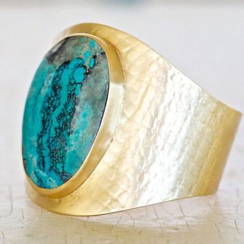 Genuine Turquoise BRAVE CUFF - Hand Textured Gold Dust Genuine Turquoise Cuff - Roots Jewelry - Bohemian Chic